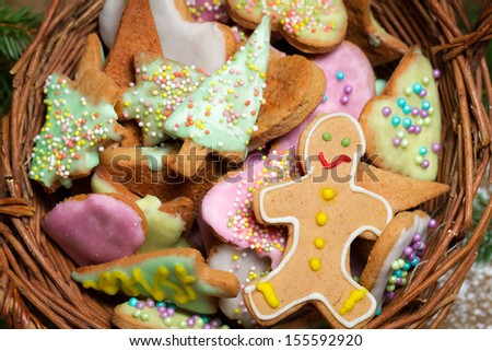 Closeup on a basket full of gingerbread cookies