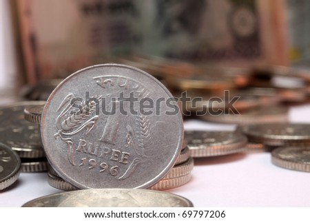 Closeup on a 1 rupee