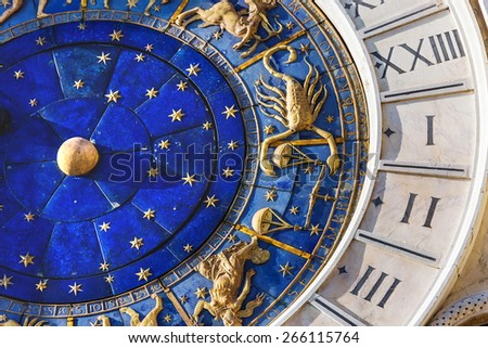 Closeup on Astronomical clock in square San Marco, Venice, Italy. - stock photo
