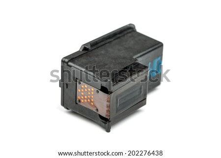 Closeup on black Ink Cartridges on White Background - stock photo