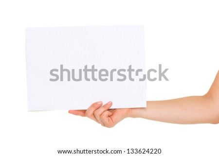 Closeup on blank paper in woman hand