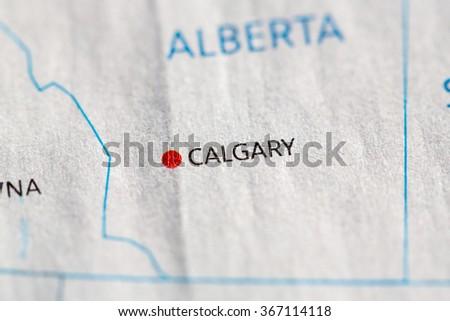 Closeup on Calgary, Alberta on a map of Canada. - stock photo