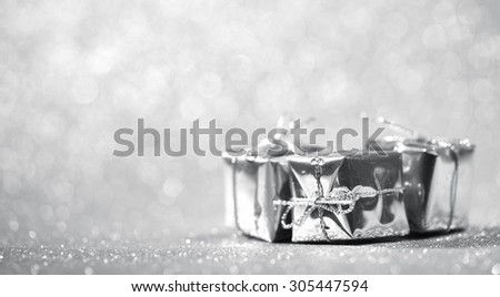 Closeup on Christmas gift boxes,Shallow Dof. - stock photo