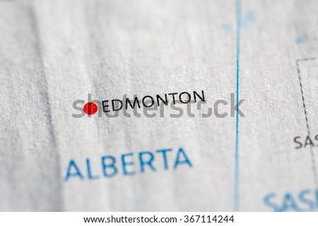 Closeup on Edmonton, Alberta on a map of the Canada. - stock photo
