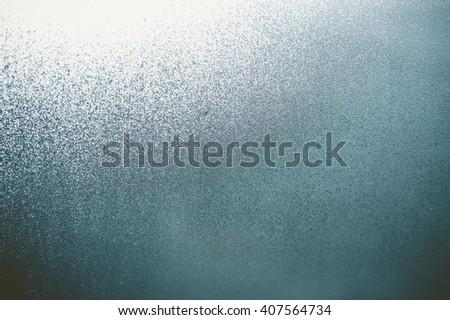 Closeup on fog condensation on window glass background - stock photo