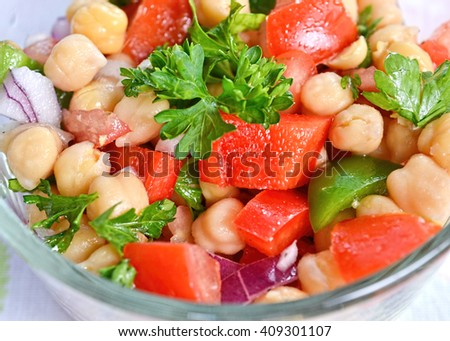 Closeup on garbanzo bean salad