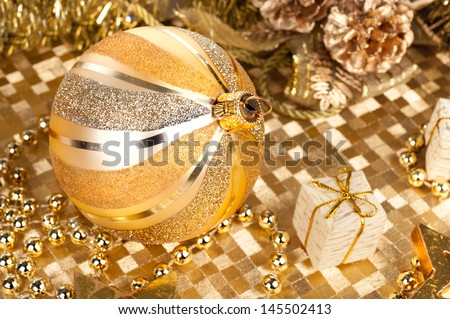 Closeup on golden Christmas decorations