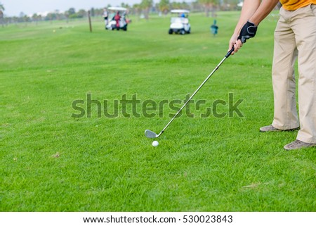 Closeup on golfer hand holding golf club ready ball on natural green grass background