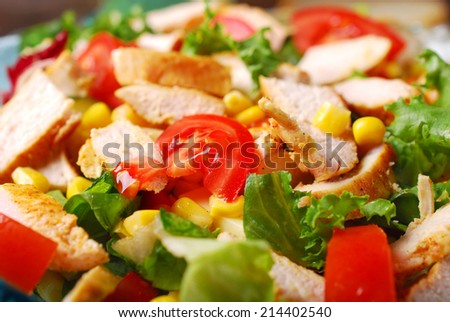 closeup on grilled chicken salad with cheese,vegetables and garlic sauce - stock photo
