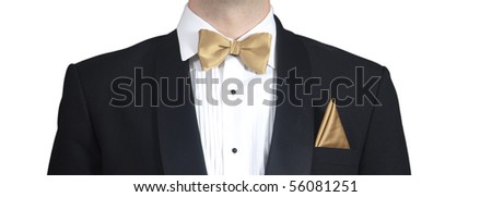 Closeup on man wearing tuxedo.