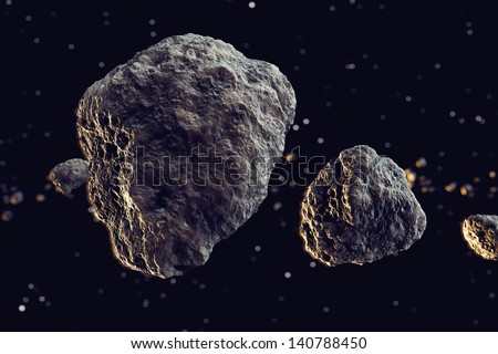 Closeup on meteor lumps in space. Dark background. Suitable for any fantasy, astronomy or space realted purposes. - stock photo