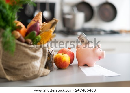 Closeup on money in piggy bank and purchases from local market on table - stock photo