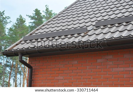 Closeup on New Rain Gutter System Downspout Drain Pipe and Roof Protection from Snow & Roof Overhang Stock Images Royalty-Free Images u0026 Vectors ... memphite.com