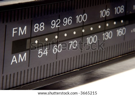 closeup on old AM/FM radio display - stock photo