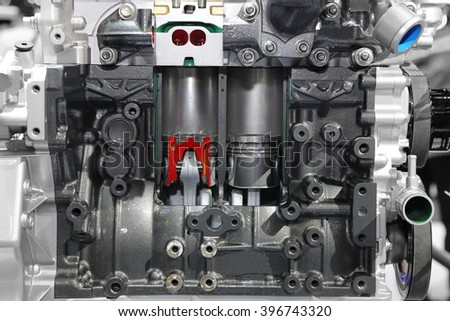 closeup on part of car engine