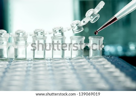 Closeup on plastic tubes for DNA amplification