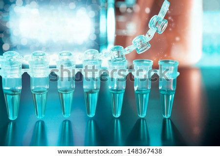 Closeup on plastic tubes for DNA analysis with PCR - stock photo