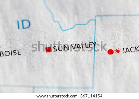 Closeup on Sun Valley, Idaho on a map of the USA. - stock photo