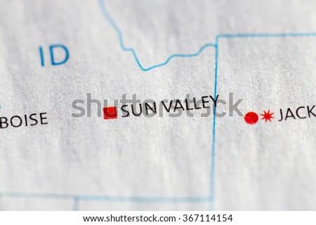 Closeup on Sun Valley, Idaho on a map of the USA. - stock photo