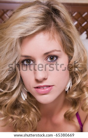 Closeup on the face of a beautiful young blonde