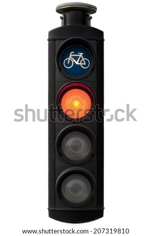 Closeup on traffic light bicycle area on white - stock photo