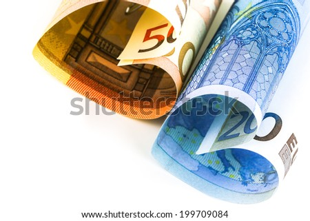 Closeup on Two euro bill in the form of a heart - stock photo