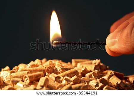 closeup on wood pellet with start fire flame - stock photo