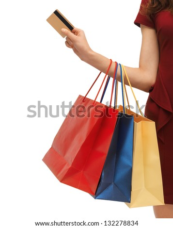 closeup or picture of woman with shopping bags . - stock photo