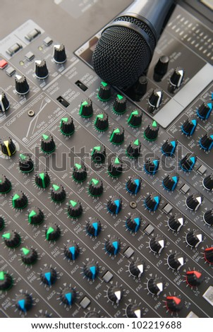 closeup PA system - stock photo