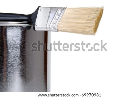 closeup paint brush on can - stock photo
