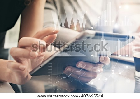 Closeup photo female hands holding modern tablet. Account managers working new private banking project office. Using electronic devices. Graphics icons, worldwide stock exchanges interface. Horizontal - stock photo