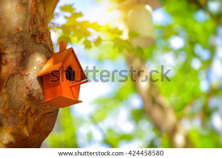 Closeup photo of a cute little nesting box on a tree trunk in a park, handmade house for birds, fauna protection, let's help nature together, save Planet Earth  - stock photo