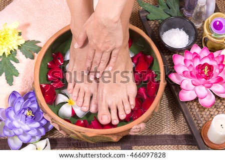 Closeup photo of a female feet at spa salon