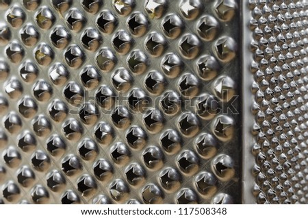 Closeup photo of a stainless steel metal grater.