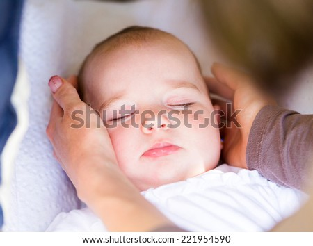 Closeup photo of an adorable sleeping baby