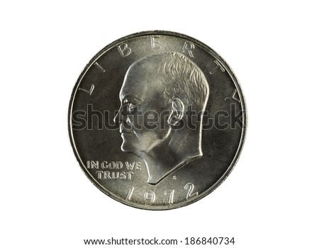 Closeup photo of an Eisenhower Silver Dollar, obverse side, isolated on white