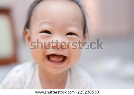 Closeup photo of beautiful cute asian baby's expression