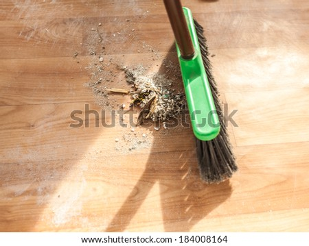 Closeup photo of brush cleaning pile of debris - stock photo