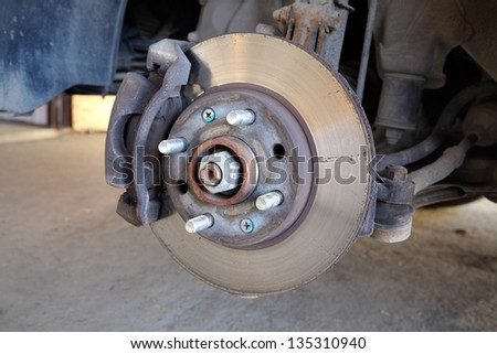 Closeup photo of car disc brakes servicing - stock photo