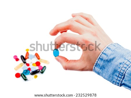 Closeup photo of colorful pills in hand on isolated white background - stock photo