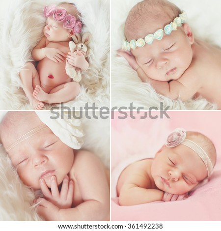 Closeup photo of cute newborn baby lips, face part, adorable child sleeping, day dreaming, carefree lifestyle, innocence concept. Collage. A portrait of a beautiful, seven day old, newborn baby girl - stock photo