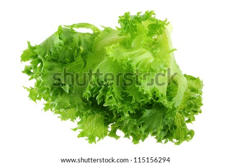 Closeup photo of Fresh organic hydroponic Frille Iceberg Lettuce, isolated on white background - stock photo