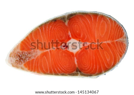 Closeup photo of fresh raw salmon cut in half cross section showing fish bone and skin isolated on a white background