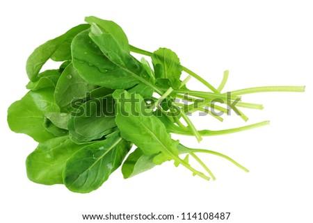 Closeup Photo Of Freshly Picked Organic Garden Rocket Salad Isolated On White Background