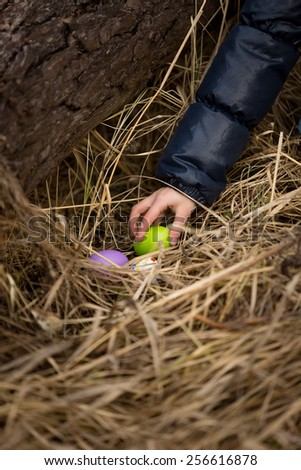 Closeup photo of girls hand taking Easter egg from the nest - stock photo