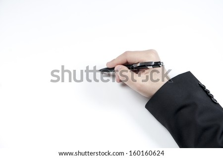 Closeup photo of hand holding pen isolated on white background  - stock photo