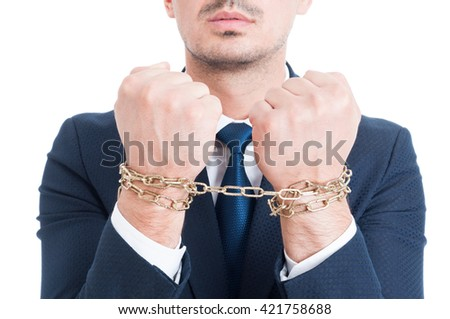 Closeup photo of lawyer hands with chain arrested and punished for bribe isolated on white background - stock photo