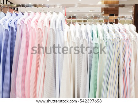 Long dress shirts hanging