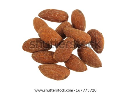 Closeup photo of Roasted and Salted Almond isolated on white - stock photo