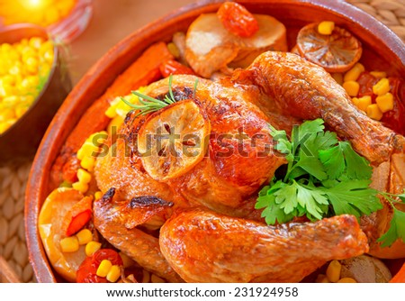 Closeup photo of tasty baked Thanksgiving turkey with fresh green parsley, delicious food for traditional autumn holiday, healthy eating concept - stock photo